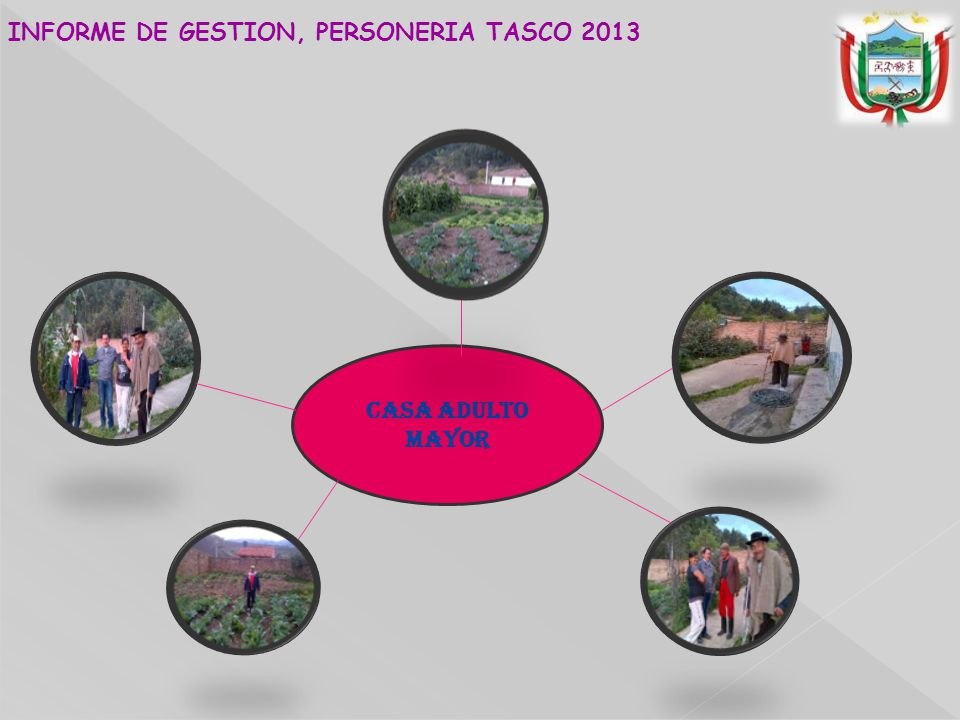 CASA ADULTO MAYOR INFORME DE GESTION, PERSONERIA TASCO 2013