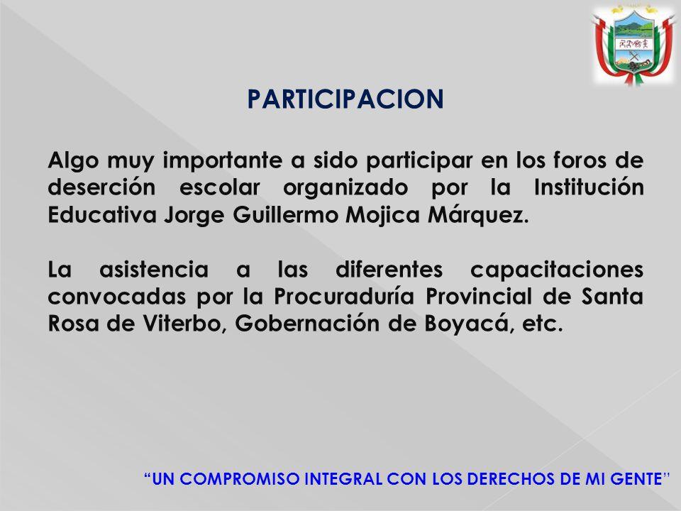 PARTICIPACION Algo muy importante a sido participar en los foros de deserción escolar organizado por la Institución Educativa Jorge Guillermo Mojica Márquez.