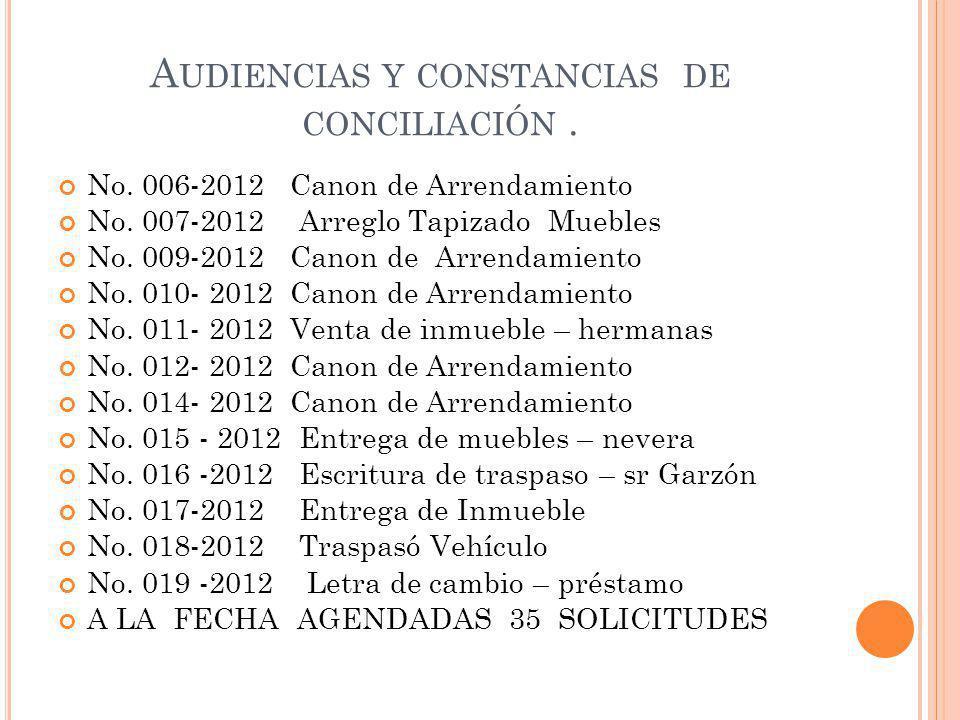 A UDIENCIAS Y CONSTANCIAS DE CONCILIACIÓN.No. 006-2012 Canon de Arrendamiento No.