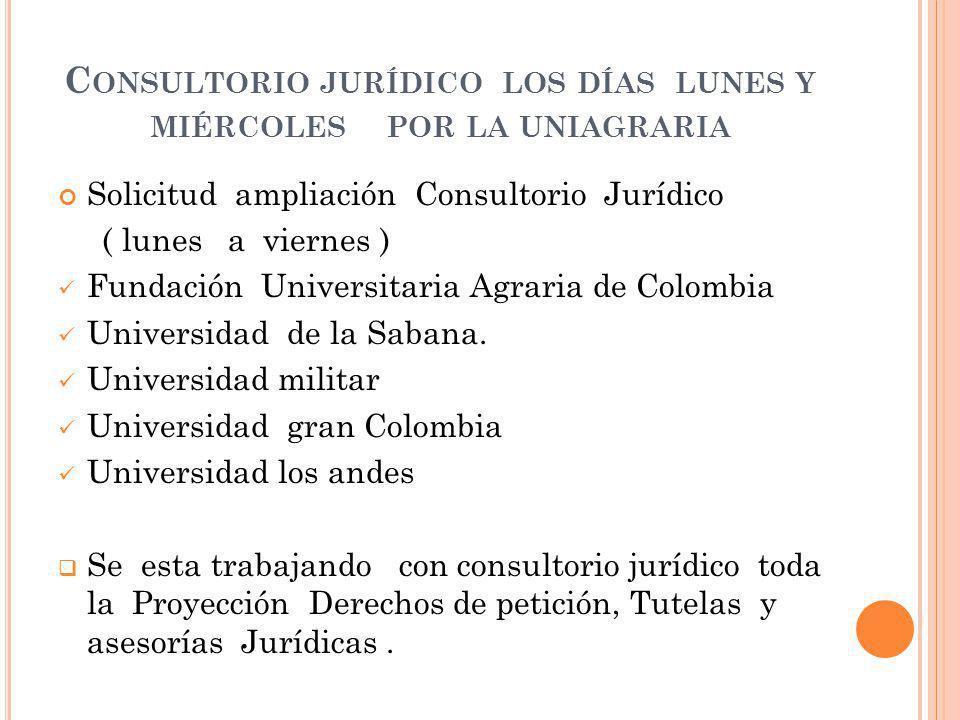 C ONSULTORIO JURÍDICO LOS DÍAS LUNES Y MIÉRCOLES POR LA UNIAGRARIA Solicitud ampliación Consultorio Jurídico ( lunes a viernes ) Fundación Universitaria Agraria de Colombia Universidad de la Sabana.