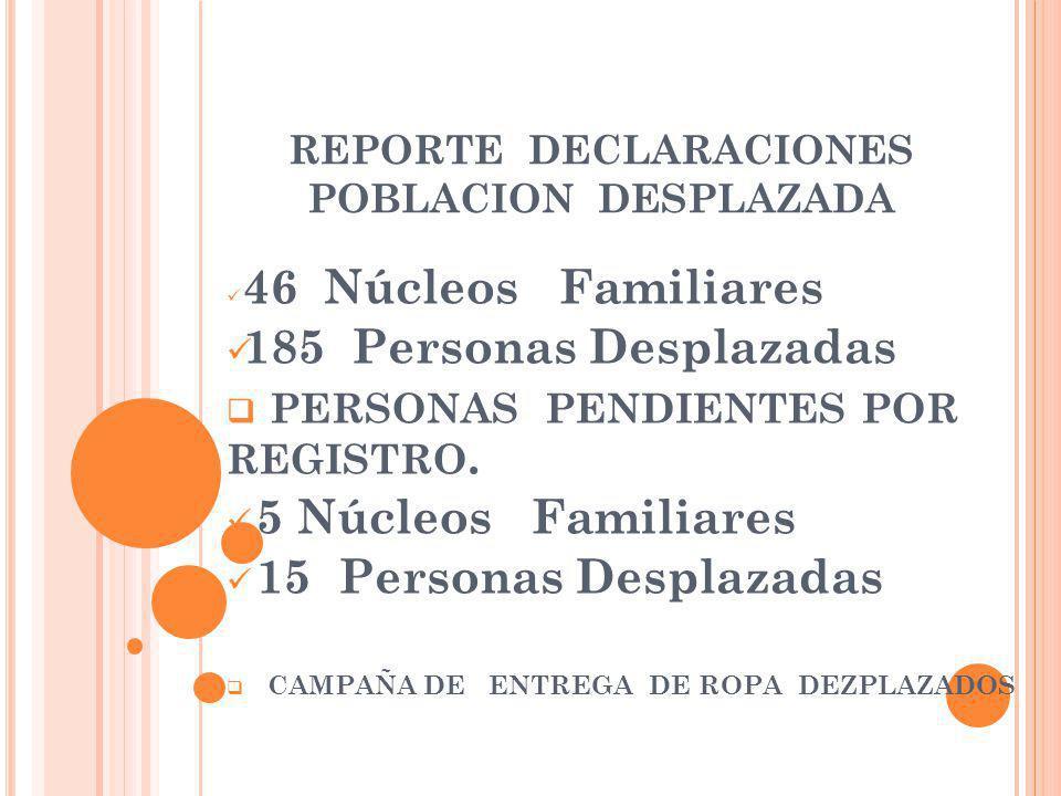 REPORTE DECLARACIONES POBLACION DESPLAZADA 46 Núcleos Familiares 185 Personas Desplazadas PERSONAS PENDIENTES POR REGISTRO.