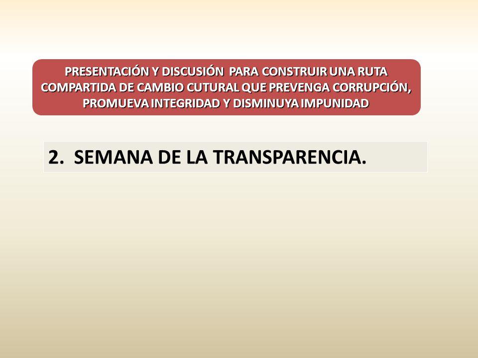 PRESENTACIÓN Y DISCUSIÓN PARA CONSTRUIR UNA RUTA COMPARTIDA DE CAMBIO CUTURAL QUE PREVENGA CORRUPCIÓN, PROMUEVA INTEGRIDAD Y DISMINUYA IMPUNIDAD 2. SE