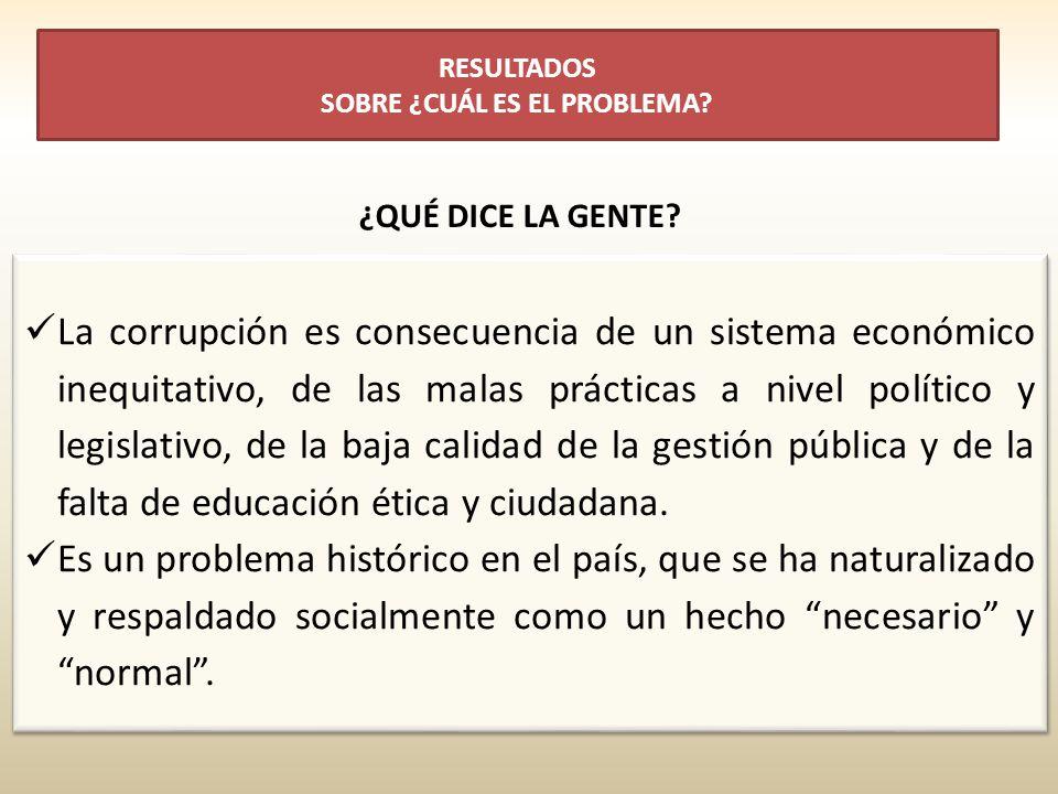La corrupción es consecuencia de un sistema económico inequitativo, de las malas prácticas a nivel político y legislativo, de la baja calidad de la gestión pública y de la falta de educación ética y ciudadana.