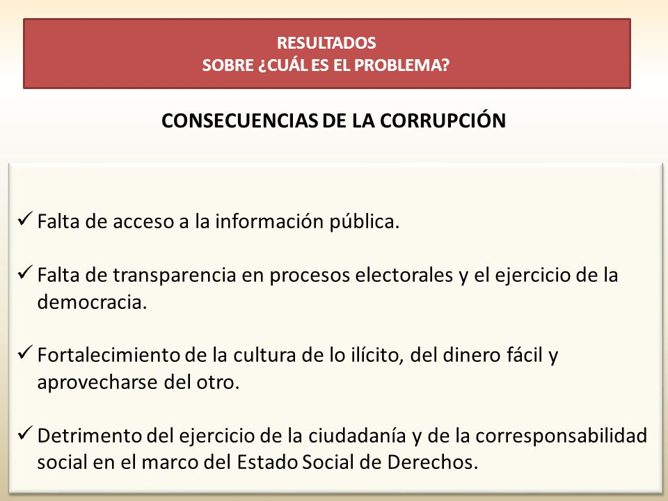 Falta de acceso a la información pública. Falta de transparencia en procesos electorales y el ejercicio de la democracia. Fortalecimiento de la cultur