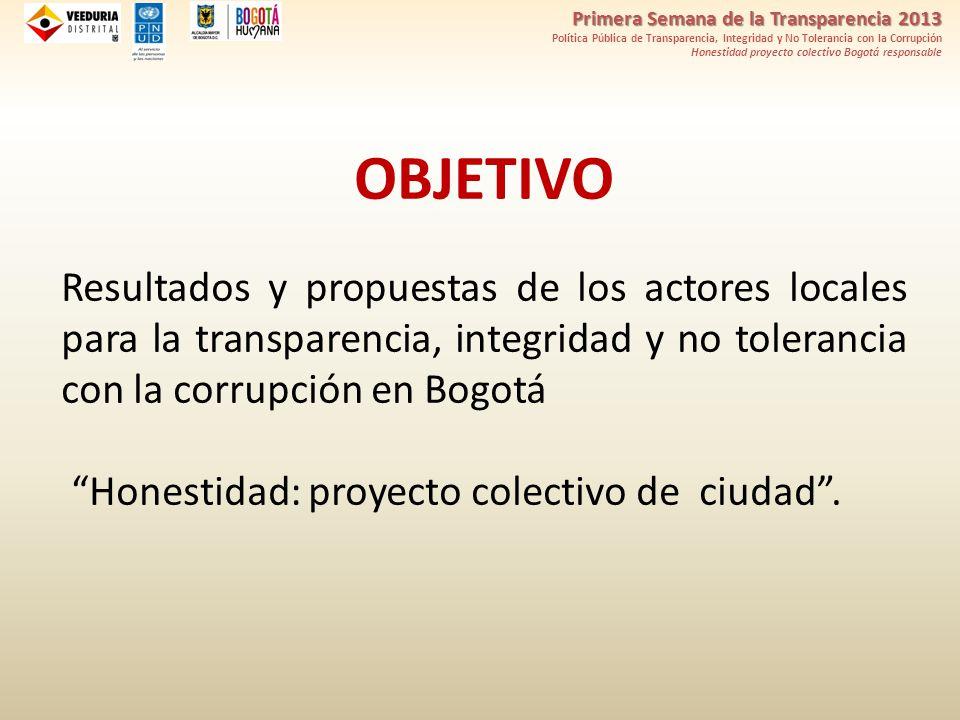 Primera Semana de la Transparencia 2013 Política Pública de Transparencia, Integridad y No Tolerancia con la Corrupción Honestidad proyecto colectivo