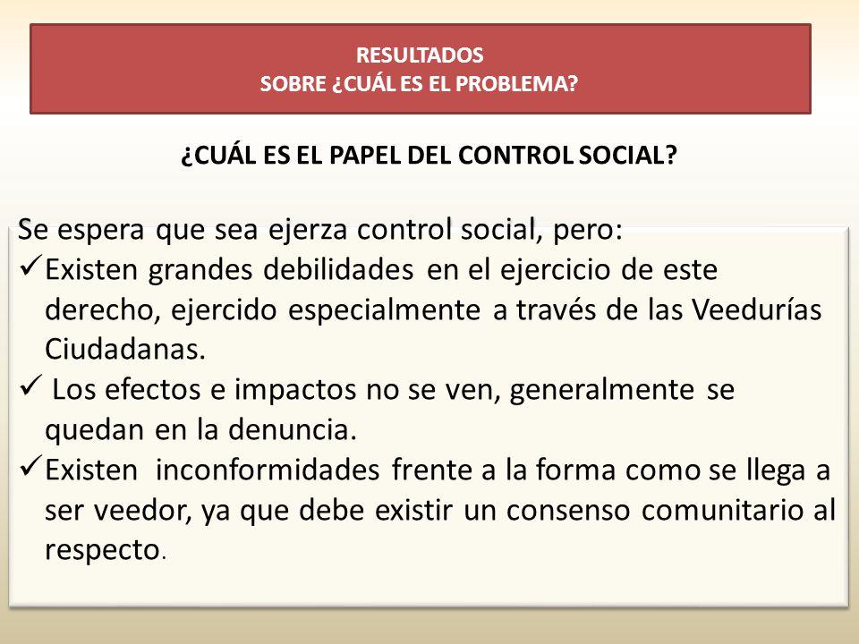 Se espera que sea ejerza control social, pero: Existen grandes debilidades en el ejercicio de este derecho, ejercido especialmente a través de las Vee