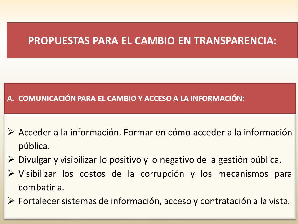 PROPUESTAS PARA EL CAMBIO EN TRANSPARENCIA: Acceder a la información. Formar en cómo acceder a la información pública. Divulgar y visibilizar lo posit