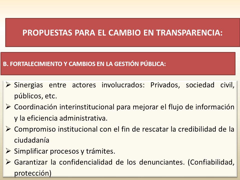 Sinergias entre actores involucrados: Privados, sociedad civil, públicos, etc. Coordinación interinstitucional para mejorar el flujo de información y