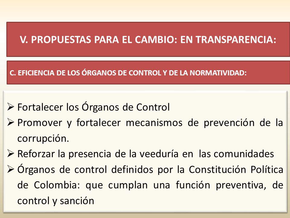 Fortalecer los Órganos de Control Promover y fortalecer mecanismos de prevención de la corrupción. Reforzar la presencia de la veeduría en las comunid