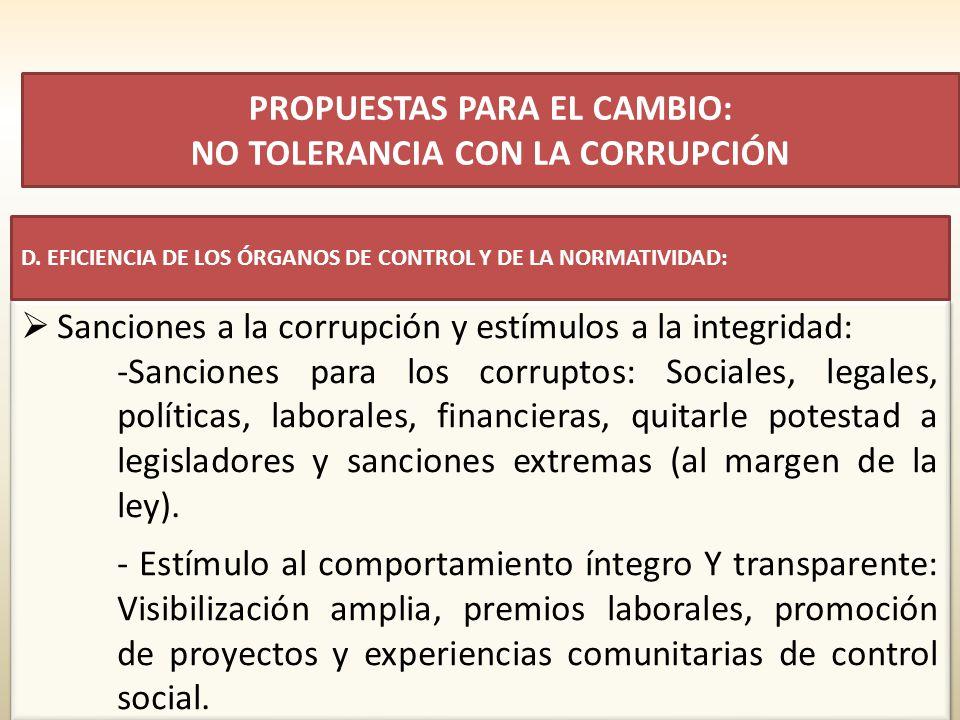 Sanciones a la corrupción y estímulos a la integridad: -Sanciones para los corruptos: Sociales, legales, políticas, laborales, financieras, quitarle potestad a legisladores y sanciones extremas (al margen de la ley).