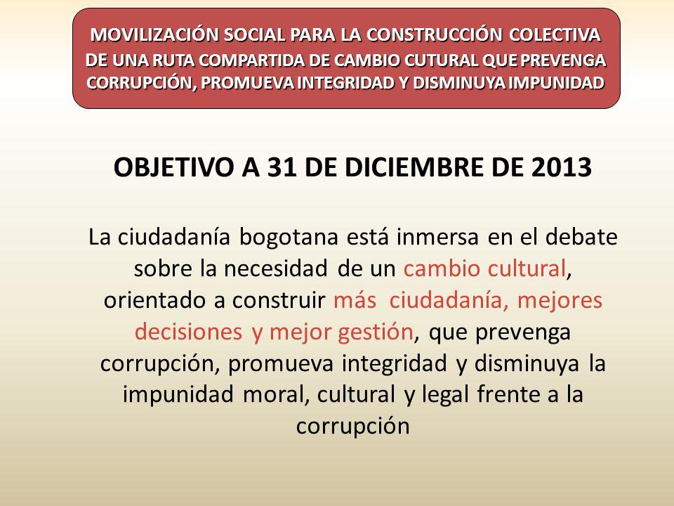 OBJETIVO A 31 DE DICIEMBRE DE 2013 La ciudadanía bogotana está inmersa en el debate sobre la necesidad de un cambio cultural, orientado a construir más ciudadanía, mejores decisiones y mejor gestión, que prevenga corrupción, promueva integridad y disminuya la impunidad moral, cultural y legal frente a la corrupción MOVILIZACIÓN SOCIAL PARA LA CONSTRUCCIÓN COLECTIVA DE UNA RUTA COMPARTIDA DE CAMBIO CUTURAL QUE PREVENGA CORRUPCIÓN, PROMUEVA INTEGRIDAD Y DISMINUYA IMPUNIDAD
