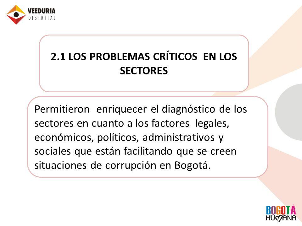 2.1 LOS PROBLEMAS CRÍTICOS EN LOS SECTORES Permitieron enriquecer el diagnóstico de los sectores en cuanto a los factores legales, económicos, polític