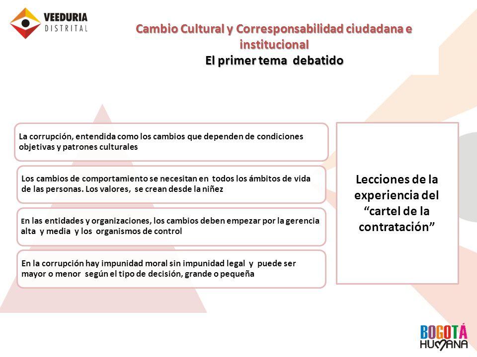 Cambio Cultural y Corresponsabilidad ciudadana e institucional El primer tema debatido La corrupción, entendida como los cambios que dependen de condi