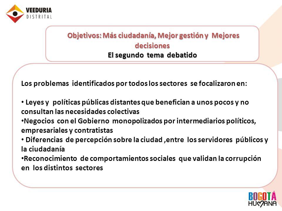 Objetivos: Más ciudadanía, Mejor gestión y Mejores decisiones El segundo tema debatido Los problemas identificados por todos los sectores se focalizar