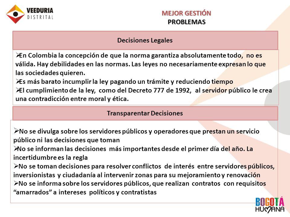 Decisiones Legales MEJOR GESTIÓN PROBLEMAS Transparentar Decisiones En Colombia la concepción de que la norma garantiza absolutamente todo, no es váli