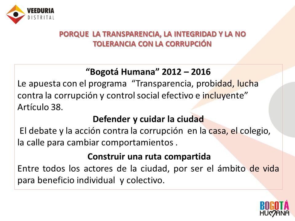 Bogotá Humana 2012 – 2016 Le apuesta con el programa Transparencia, probidad, lucha contra la corrupción y control social efectivo e incluyente Artícu