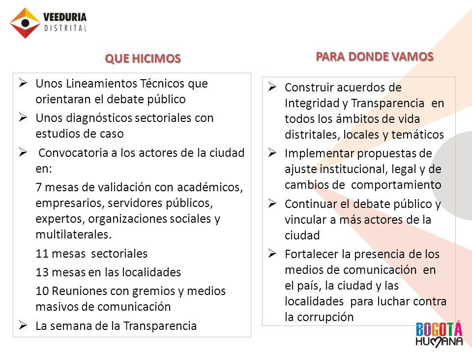 QUE HICIMOS Unos Lineamientos Técnicos que orientaran el debate público Unos diagnósticos sectoriales con estudios de caso Convocatoria a los actores