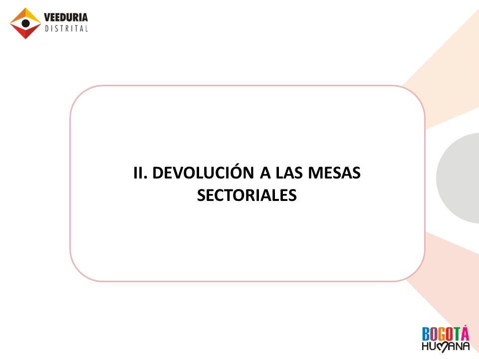 II. DEVOLUCIÓN A LAS MESAS SECTORIALES
