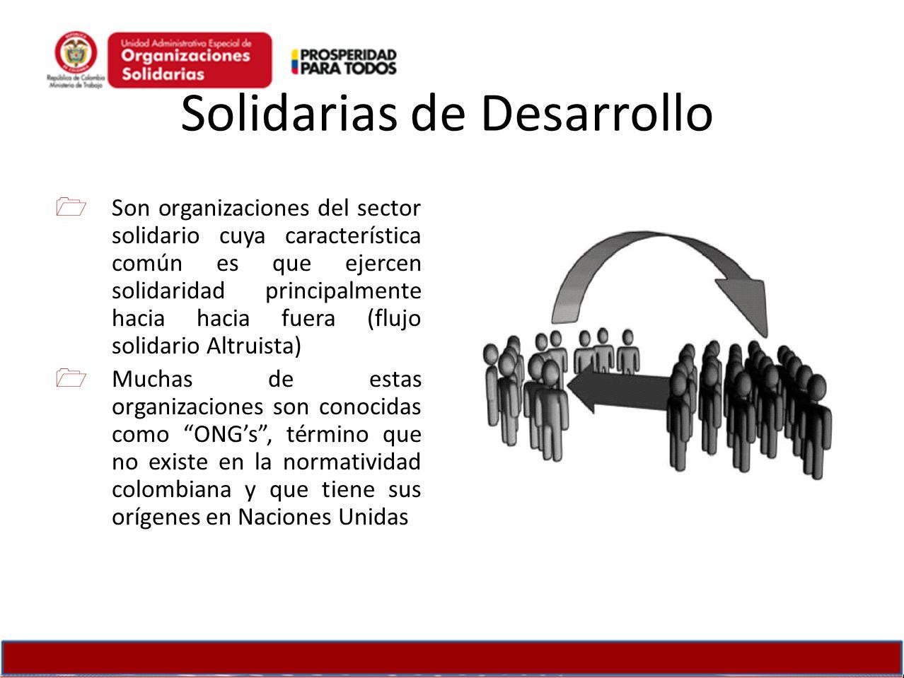 Solidarias de Desarrollo Son organizaciones del sector solidario cuya característica común es que ejercen solidaridad principalmente hacia hacia fuera