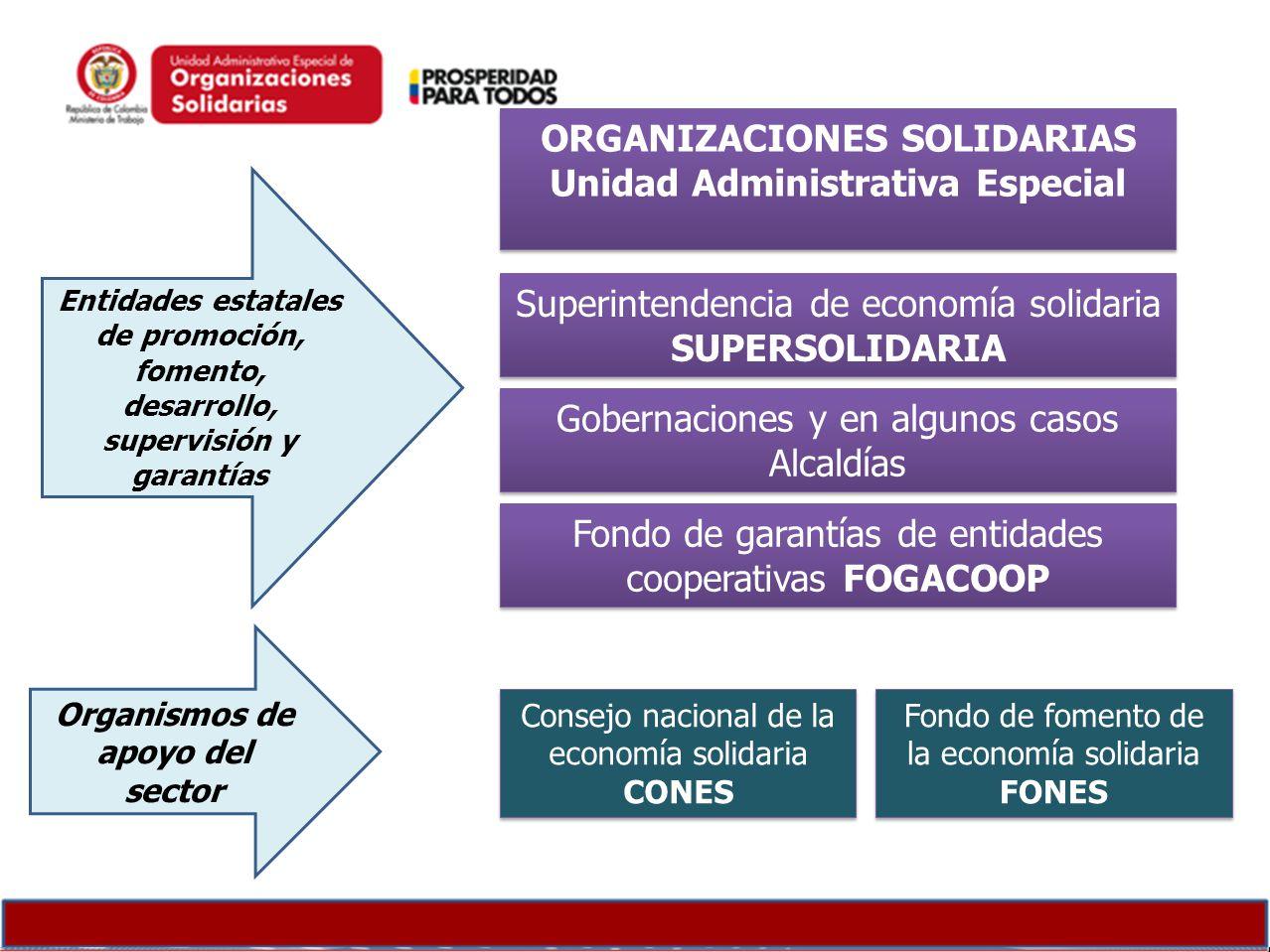 Consejo nacional de la economía solidaria CONES Superintendencia de economía solidaria SUPERSOLIDARIA Fondo de garantías de entidades cooperativas FOG