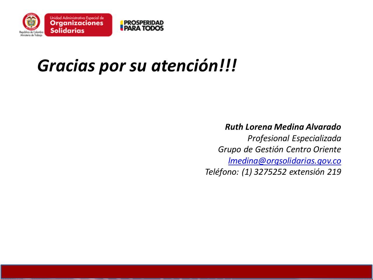 Gracias por su atención!!! Ruth Lorena Medina Alvarado Profesional Especializada Grupo de Gestión Centro Oriente lmedina@orgsolidarias.gov.co Teléfono