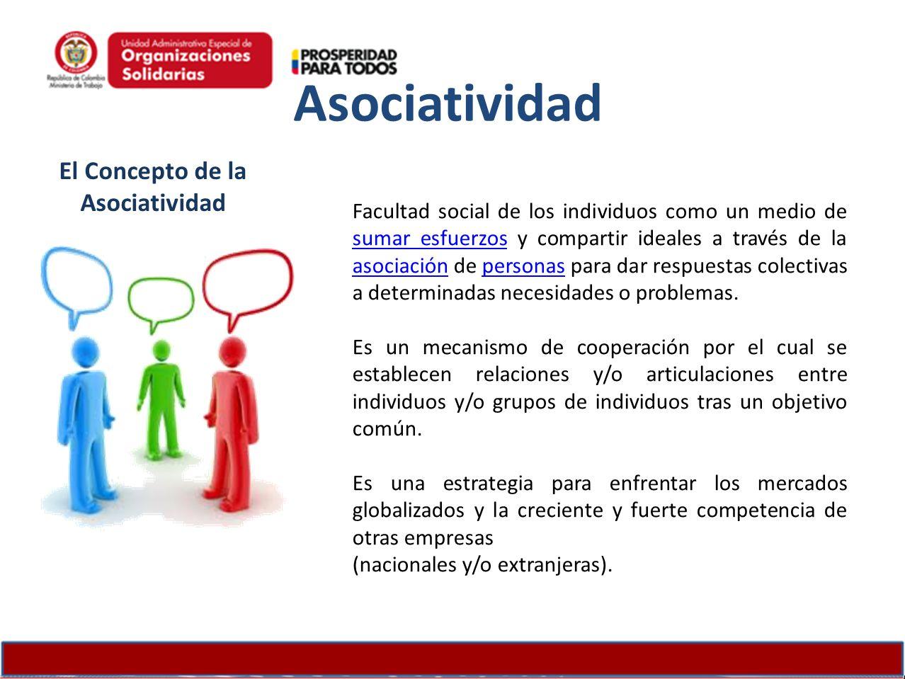 El Concepto de la Asociatividad Facultad social de los individuos como un medio de sumar esfuerzos y compartir ideales a través de la asociación de pe