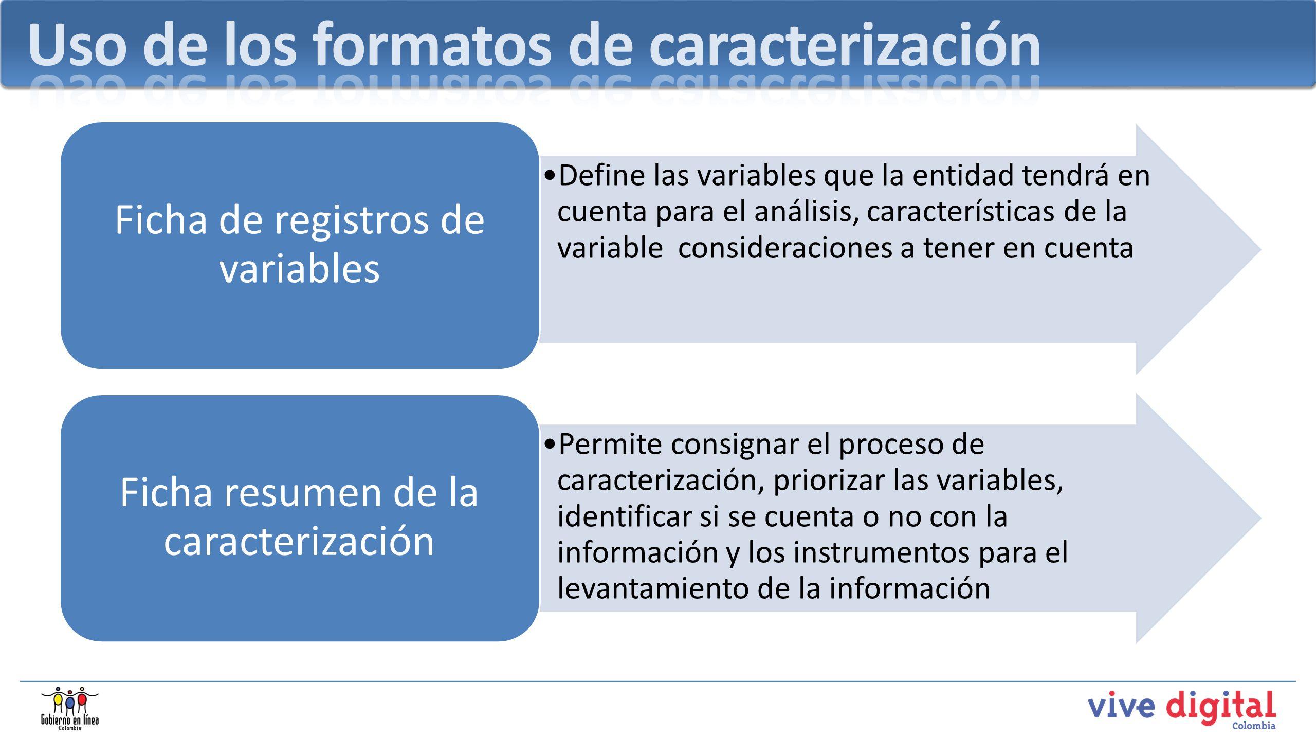 Define las variables que la entidad tendrá en cuenta para el análisis, características de la variable consideraciones a tener en cuenta Ficha de regis