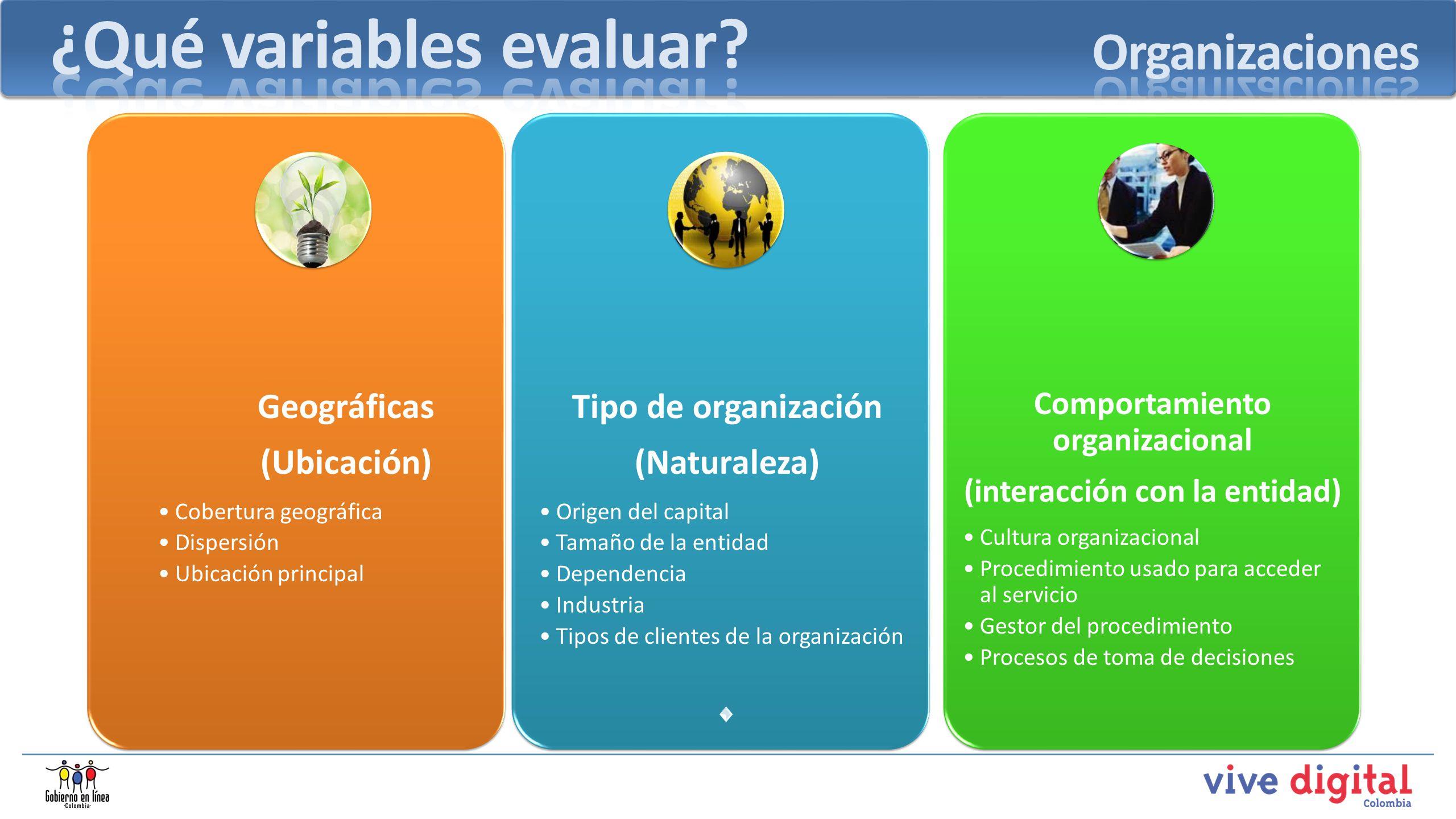 Tipo de organización (Naturaleza) Origen del capital Tamaño de la entidad Dependencia Industria Tipos de clientes de la organización Comportamiento or
