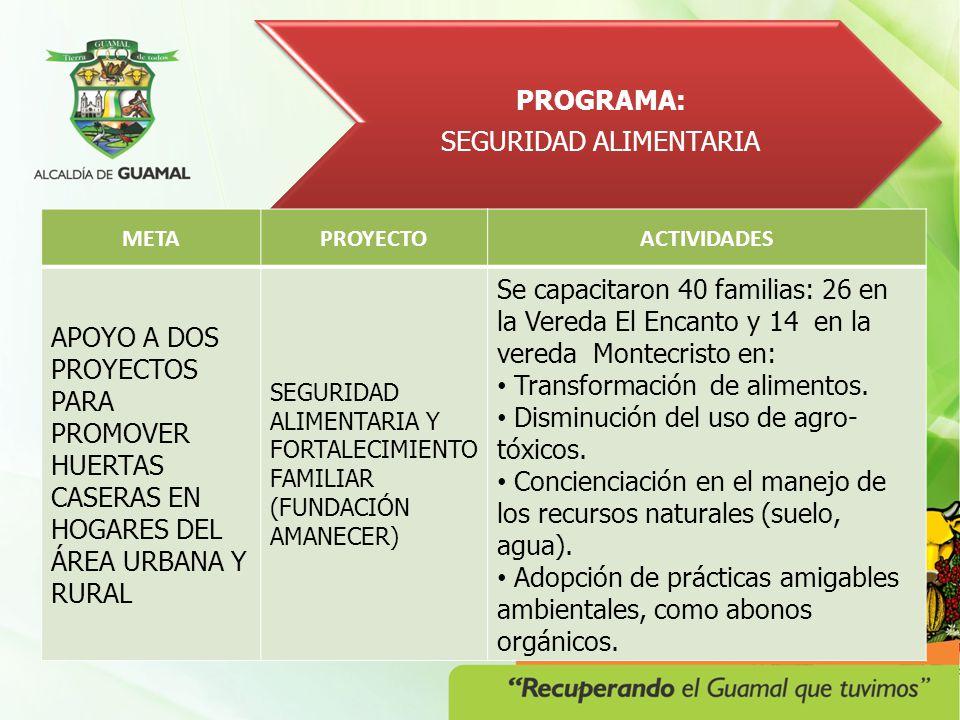 PROGRAMA: SEGURIDAD ALIMENTARIA METAPROYECTOACTIVIDADES APOYO A DOS PROYECTOS PARA PROMOVER HUERTAS CASERAS EN HOGARES DEL ÁREA URBANA Y RURAL SEGURIDAD ALIMENTARIA Y FORTALECIMIENTO FAMILIAR (FUNDACIÓN AMANECER) Se capacitaron 40 familias: 26 en la Vereda El Encanto y 14 en la vereda Montecristo en: Transformación de alimentos.