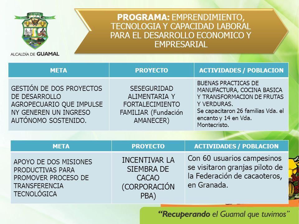 PROGRAMA: EMPRENDENDIMIENTO, TECNOLOGIA Y CAPACIDAD LABORAL PARA EL DESARROLLO ECONOMICO Y EMPRESARIAL PROYECTOACTIVIDADES / POBLACION FORMULACION DEL PLAN DE ASISTENCIA TECNICA (CONVENIO AMA) Levantamiento línea base para el plan que beneficiará a 372 fincas del municipio.