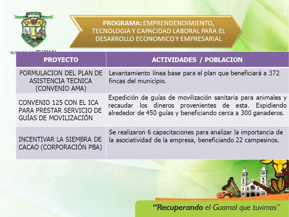 PROGRAMA: EMPRENDENDIMIENTO, TECNOLOGIA Y CAPACIDAD LABORAL PARA EL DESARROLLO ECONOMICO Y EMPRESARIAL PROYECTOACTIVIDADES / POBLACION BRINDAR ASISTENCIA TÉCNICA A MEDIANOS Y PEQUEÑOS PRODUCTORES, A TRAVÉS DEL CONVENIO CON EL ICA Más de 300 productores se benefician con el normal funcionamiento del complejo ganadero.
