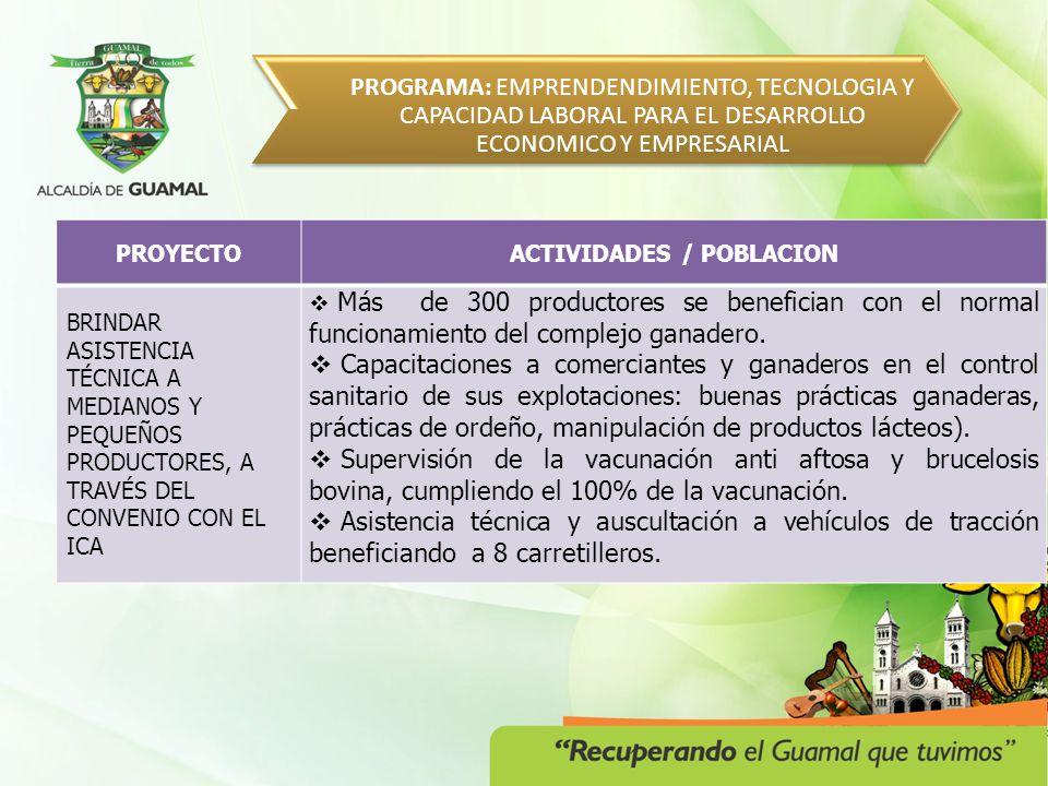 PROGRAMA: EQUIPAMIENTO MUNICIPAL PARA EL DESARROLLO Y LA COMPETITIIDAD METAPROYECTO ACTIVIDADES /POBLACION GESTIÓN DE DOS PROYECTOS DE PARQUES LINEALES, EJES AMBIENTALES, CICLO RUTAS Y ÁREAS VERDES DE PROTECCIÓN DE CAÑOS Y RÍOS.
