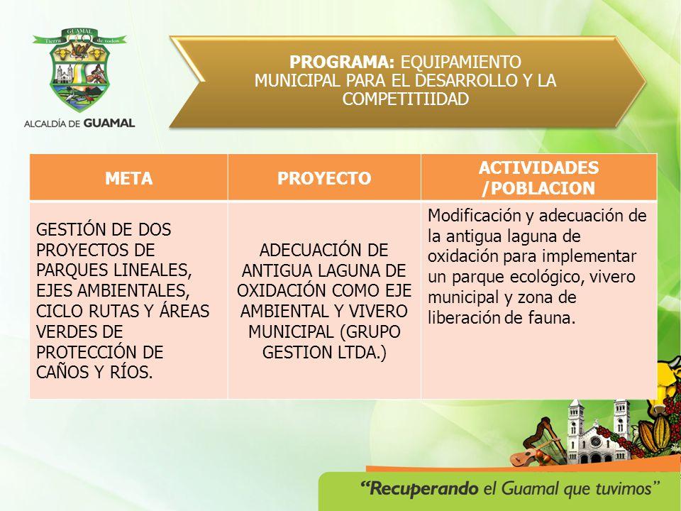 PROGRAMA: GUAMAL MUNICIPIO ARMONICO Y ORDENADO METAPOBLACION CREACIÓN Y FUNCIONAMIENTO DEL COMITÉ AMBIENTAL MUNICIPAL CAM.