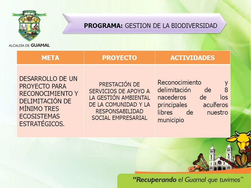 PROGRAMA: GUAMAL MUNICIPIO ARMONICO Y ORDENADO METAPROYECTOPOBLACION DESARROLLO, IMPLEMENTACIÓN Y EJECUCIÓN DE UN PROGRAMA DE SEPARACIÓN EN LA FUENTE Y DE RECICLAJE PARA LA POBLACIÓN DEL MUNICIPIO.