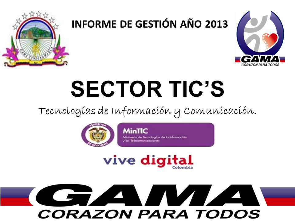 INFORME DE GESTIÓN AÑO 2013 SECTOR TICS Tecnologías de Información y Comunicación.