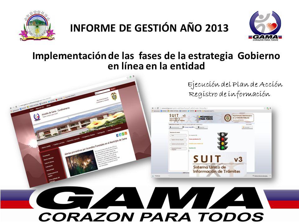 INFORME DE GESTIÓN AÑO 2013 Implementación de las fases de la estrategia Gobierno en línea en la entidad Ejecución del Plan de Acción Registro de información