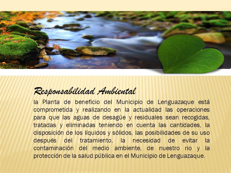 Responsabilidad Ambiental la Planta de beneficio del Municipio de Lenguazaque está comprometida y realizando en la actualidad las operaciones para que