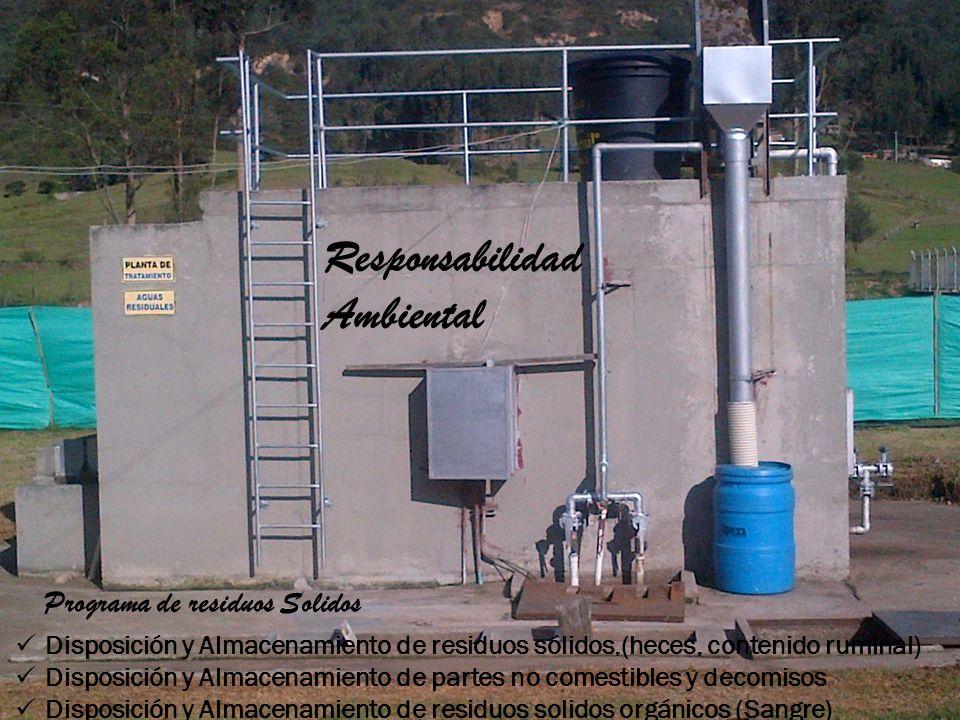 Disposición y Almacenamiento de residuos sólidos,(heces, contenido ruminal) Disposición y Almacenamiento de partes no comestibles y decomisos Disposic