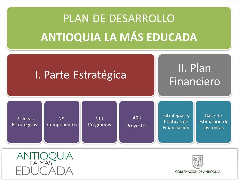PLAN DE DESARROLLO ANTIOQUIA LA MÁS EDUCADA I. Parte Estratégica 7 Líneas Estratégicas 29 Componentes 111 Programas 403 Proyectos II. Plan Financiero