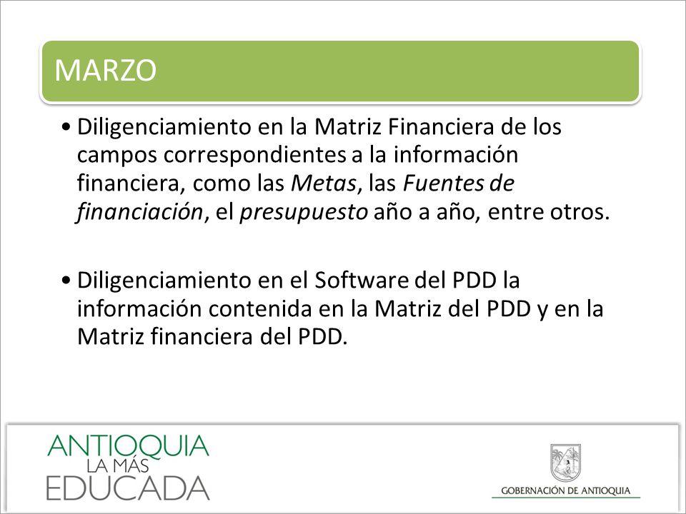 MARZO Diligenciamiento en la Matriz Financiera de los campos correspondientes a la información financiera, como las Metas, las Fuentes de financiación