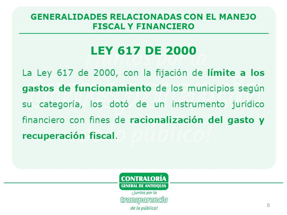 9 MUNICIPIO DE SABANETA CUMPLIMIENTO LEY 617 DE 2000 1.