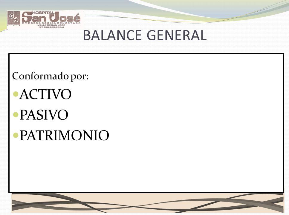 BALANCE GENERAL Conformado por: ACTIVO PASIVO PATRIMONIO