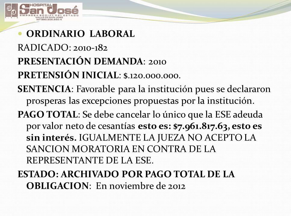 ORDINARIO LABORAL RADICADO: 2010-182 PRESENTACIÓN DEMANDA: 2010 PRETENSIÓN INICIAL: $.120.000.000. SENTENCIA: Favorable para la institución pues se de