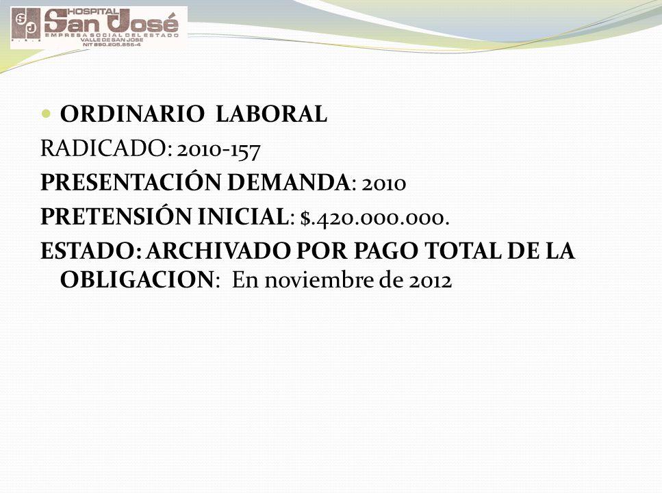 ORDINARIO LABORAL RADICADO: 2010-157 PRESENTACIÓN DEMANDA: 2010 PRETENSIÓN INICIAL: $.420.000.000. ESTADO: ARCHIVADO POR PAGO TOTAL DE LA OBLIGACION:
