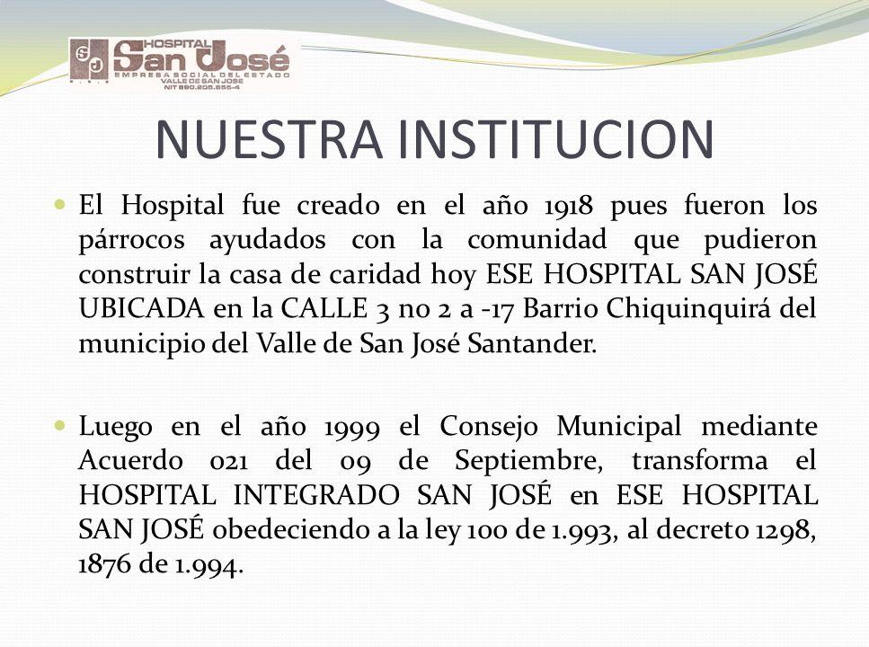 NUESTRA INSTITUCION El Hospital fue creado en el año 1918 pues fueron los párrocos ayudados con la comunidad que pudieron construir la casa de caridad