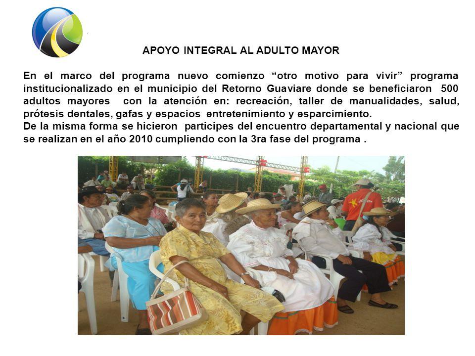 De igual manera se beneficia a los adultos mayores con programas como: PPSAM ( programa de protección social adulto mayor) el cual les brinda un bono bimensual a 146 adultos mayores del municipio.