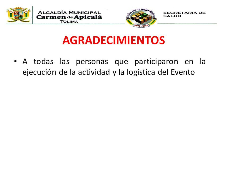 AGRADECIMIENTOS A todas las personas que participaron en la ejecución de la actividad y la logística del Evento