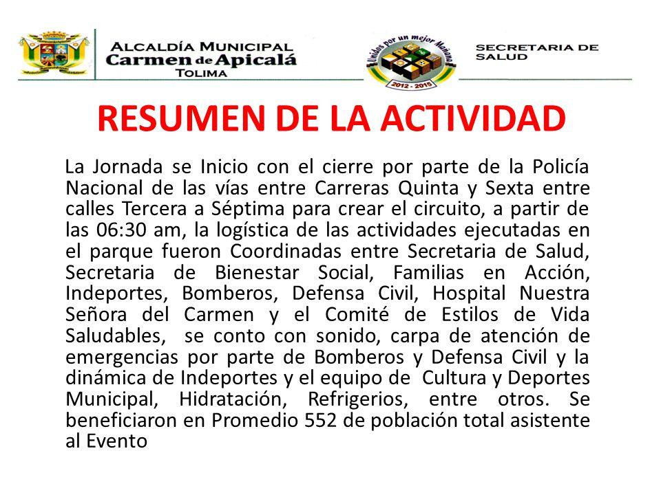 RESUMEN DE LA ACTIVIDAD La Jornada se Inicio con el cierre por parte de la Policía Nacional de las vías entre Carreras Quinta y Sexta entre calles Ter