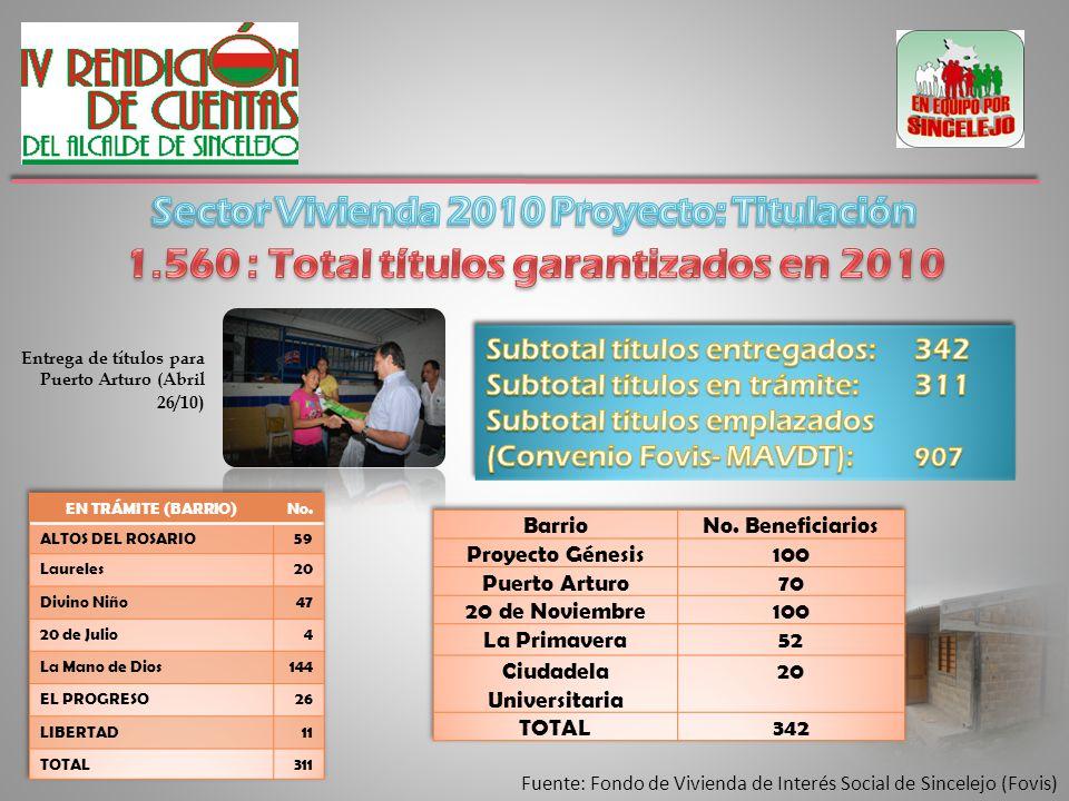 Entrega de títulos para Puerto Arturo (Abril 26/10 )