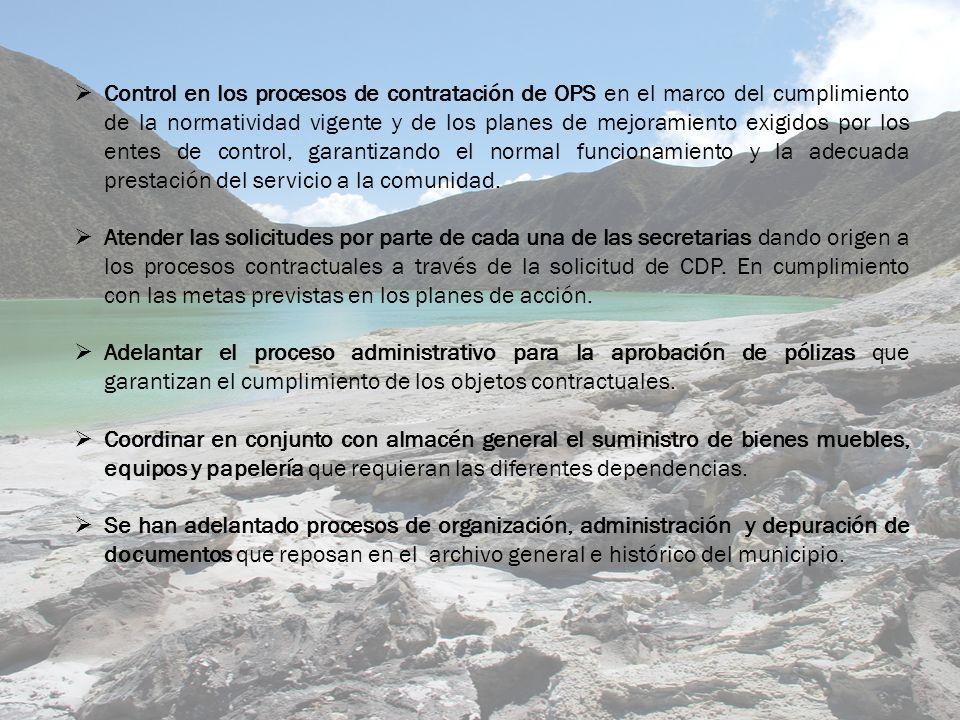 Control en los procesos de contratación de OPS en el marco del cumplimiento de la normatividad vigente y de los planes de mejoramiento exigidos por los entes de control, garantizando el normal funcionamiento y la adecuada prestación del servicio a la comunidad.